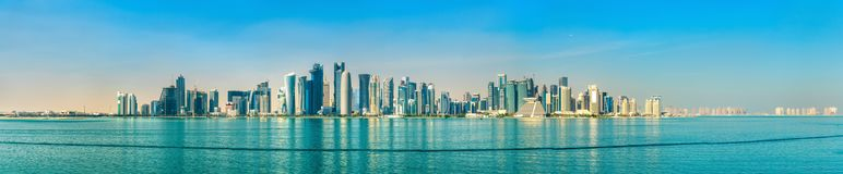 Skyline of Doha, the capital of Qatar. Royalty Free Stock Images