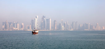 Skyline of the Doha downtown Stock Photo
