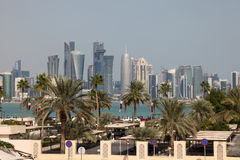 Skyline of Doha downtown. Qatar Stock Images