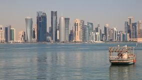Skyline of Doha downtown stock video footage