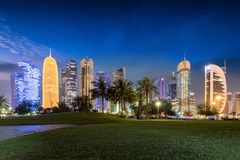 The skyline of Doha, Qatar, by night from the Sheraton Park Royalty Free Stock Image