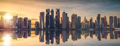 The skyline of Doha. Qatar during sunset Stock Photography