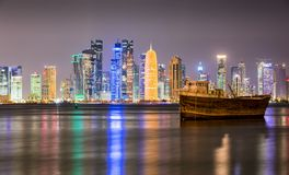 The skyline of Doha seen from the dhow harbor Stock Image