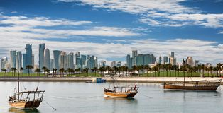 The Skyline of Doha on a sunny day Royalty Free Stock Photo