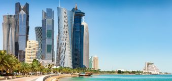 The skyline of Doha on a sunny spring day. DOHA, QATAR - 2nd April 2017: The skyline of Doha on a sunny spring day Royalty Free Stock Image
