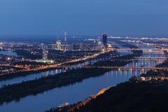 Skyline of Donau City - Vienna DC and bridges on Danube River Stock Image