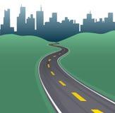 Skyline dos edifícios da cidade da curva do trajeto da estrada ilustração royalty free