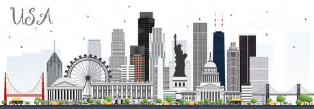 Skyline dos EUA com Gray Skyscrapers e os marcos ilustração royalty free