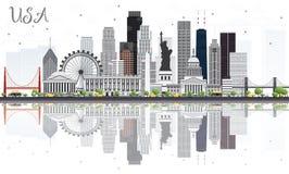 Skyline dos EUA com Gray Skyscrapers, os marcos e as reflexões ilustração royalty free
