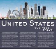 Skyline dos EUA com Gray Skyscrapers, os marcos e o espaço da cópia ilustração royalty free