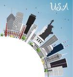 Skyline dos EUA com Gray Skyscrapers, os marcos e o espaço da cópia ilustração stock