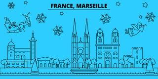 Skyline dos feriados de inverno de França, Marselha O Feliz Natal, ano novo feliz decorou a bandeira com Santa Claus france ilustração stock