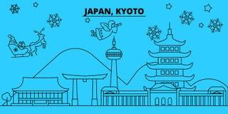 Skyline dos feriados de inverno de Japão, Kyoto O Feliz Natal, ano novo feliz decorou a bandeira com Santa Claus Japão, Kyoto ilustração do vetor
