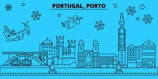 Skyline dos feriados de inverno de Portugal, Porto O Feliz Natal, ano novo feliz decorou a bandeira com Santa Claus portugal ilustração stock
