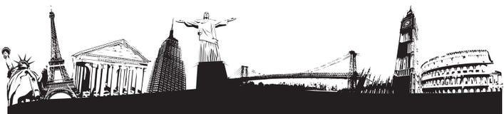 Skyline dos marcos do mundo ilustração stock
