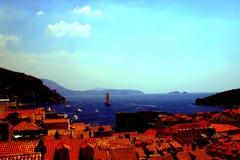 Skyline dos montes de Dubrovnik e de Croácia Imagem de Stock Royalty Free
