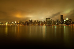 Skyline dourada de New York City Fotos de Stock Royalty Free