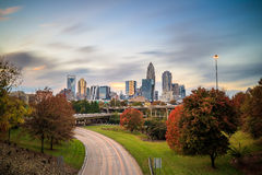 Skyline of downtown Charlotte in north carolina Stock Photos