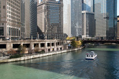 Skyline along the Riverwalk in downtown Chicago, Illinois Royalty Free Stock Image