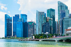 Skyline in Downtown Core at Marina Bay Financial Center Singapor Royalty Free Stock Image