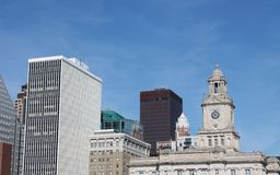 Skyline of downtown Des Moines Iowa. View of the skyline of downtown Des Moines, Iowa Stock Photo