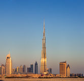 A skyline of Downtown Dubai with the Burj Khalifa Stock Images