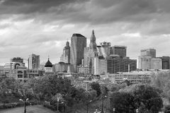 Skyline of downtown Hartford, Connecticut from above Charter Oak. Landing in black and white stock photography