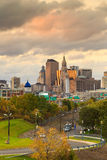Skyline of downtown Hartford, Connecticut from above Charter Oak Stock Image