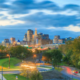 Skyline of downtown Hartford, Connecticut from above Charter Oak. Landing at sunset stock photos