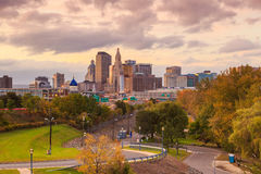 Skyline of downtown Hartford, Connecticut from above Charter Oak Royalty Free Stock Images