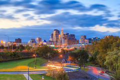 Skyline of downtown Hartford, Connecticut from above Charter Oak. Landing at sunset royalty free stock images