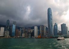 The skyline of downtown Hong Kong Stock Photo