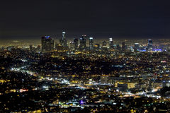 The skyline of downtown Los Angeles. Downtown Los Angeles at night taken from the Griffith  observatory Stock Photos