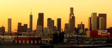 Skyline of Downtown Los Angeles at Twighlight Royalty Free Stock Photo