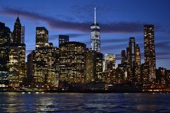 Skyline of Downtown Manhattan from Brooklyn Royalty Free Stock Image