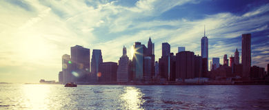 Skyline downtown Manhattan Royalty Free Stock Photography