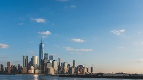 Skyline of downtown  Manhattan of New York City at dusk, viewed from New Jersey, USA. Skyline of downtown  Manhattan of New York City at dusk, over Hudson River royalty free stock photo