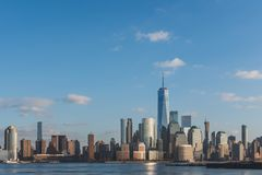 Skyline of downtown  Manhattan of New York City at dusk, viewed from New Jersey, USA. Skyline of downtown  Manhattan of New York City at dusk, over Hudson River stock photo