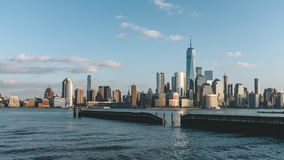 Skyline of downtown  Manhattan of New York City at dusk, viewed from New Jersey, USA. Skyline of downtown  Manhattan of New York City at dusk, over Hudson River royalty free stock photos