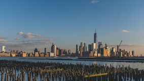 Skyline of downtown  Manhattan of New York City at dusk, viewed from New Jersey, USA. Skyline of downtown  Manhattan of New York City at dusk, over Hudson River royalty free stock photography