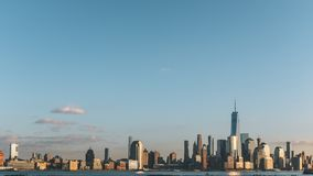 Skyline of downtown  Manhattan of New York City at dusk, viewed from New Jersey, USA. Skyline of downtown  Manhattan of New York City at dusk, over Hudson River stock images