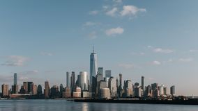 Skyline of downtown  Manhattan of New York City at dusk, viewed from New Jersey, USA. Skyline of downtown  Manhattan of New York City at dusk, over Hudson River stock photos