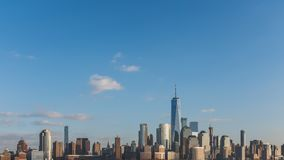 Skyline of downtown  Manhattan of New York City, viewed from New Jersey, USA. Skyline of downtown  Manhattan of New York City, under blue sky, viewed from New royalty free stock images
