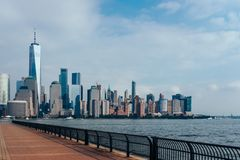 Skyline of Downtown Manhattan over Hudson River royalty free stock photos