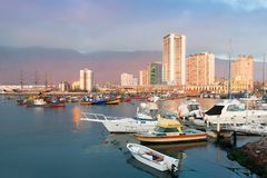 Skyline of downtown and marina of Iquique from the port Royalty Free Stock Images