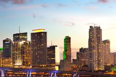 Skyline of downtown Miami at dusk Stock Photography