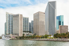 The skyline of downtown Miami with modern yachts docked at the b Royalty Free Stock Image