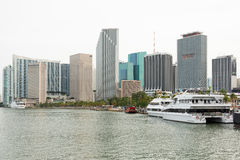The skyline of downtown Miami with yachts on Biscayne Bay Royalty Free Stock Photos
