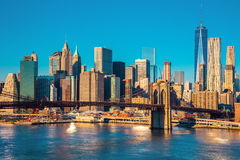 Skyline of downtown New York at the morning light , New York Cit Stock Photos
