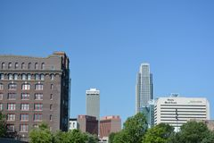 Skyline of downtown Omaha, Nebraska stock image